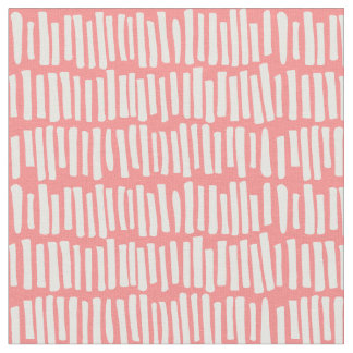 Modern Coral and White Line Pattern Fabric