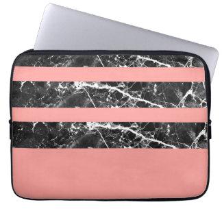 Modern coral black white marble stripes laptop sleeve