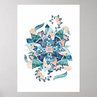 Modern coral blue watercolor floral illustration poster