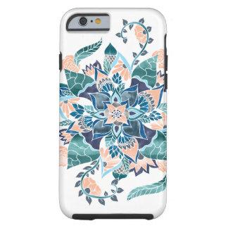 Modern coral blue watercolor floral illustration tough iPhone 6 case