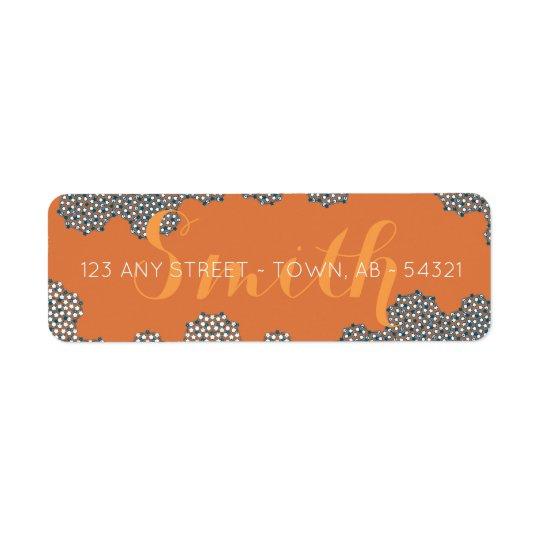 Modern Coral Bubbles Abstract Orange Blue & Teal Return Address Label