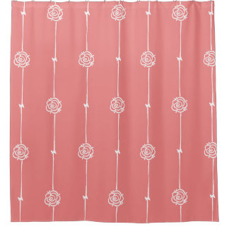 Modern Coral Fusion Rose Stripe Shower Curtain