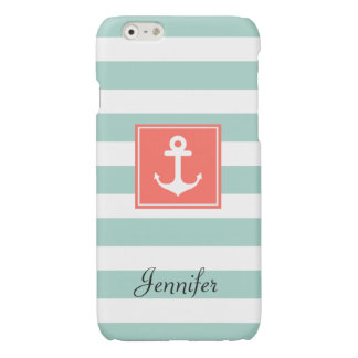 Modern Coral Nautical Anchor Mint White Stripes