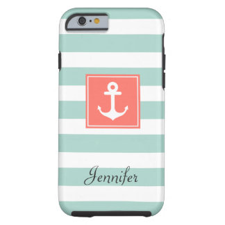 Modern Coral Nautical Anchor Mint White Stripes Tough iPhone 6 Case