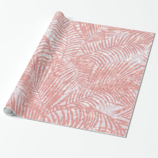 Modern coral pink faux glitter elegant palm tree wrapping paper