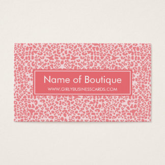 Modern Coral Pink Leopard Print Boutique Business Card