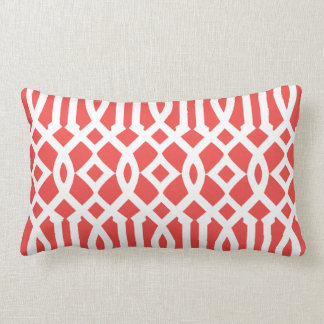 Modern Coral Red and White Imperial Trellis Lumbar Cushion