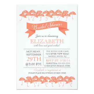 Modern Coral Umbrella Bridal Shower 13 Cm X 18 Cm Invitation Card