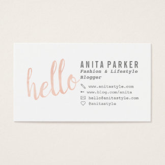 Modern coral watercolor brush hello script blogger business card