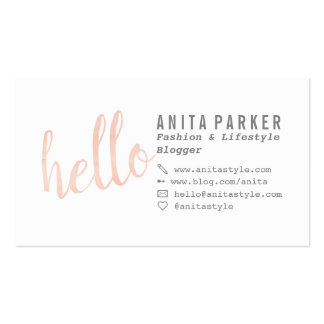 Modern coral watercolor brush hello script blogger pack of standard business cards