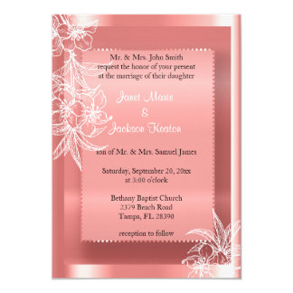 Modern Coral & White Floral Stamp 13 Cm X 18 Cm Invitation Card