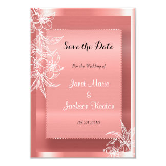 Modern Coral & White Floral Stamp 9 Cm X 13 Cm Invitation Card