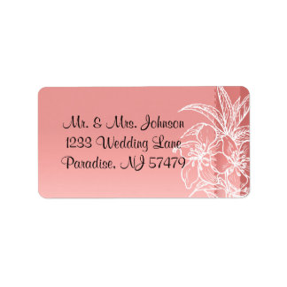 Modern Coral & White Floral Stamp Address Label
