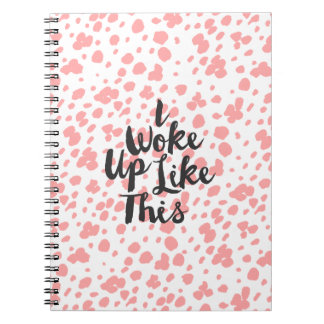 Modern coral white hand drawn dots typography notebook