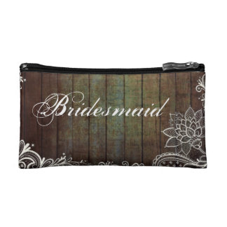 modern country barn wood lace rustic bridesmaid cosmetics bags