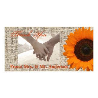 Modern Country orange Sunflower burlap wedding Custom Photo Card