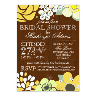 Modern Country Sun Flower Bridal Wedding Shower 4.5x6.25 Paper Invitation Card