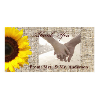 modern country wedding yellow Sunflower burlap Custom Photo Card