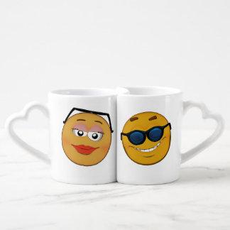 Modern couple of smileys cartoon style coffee mug set