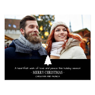 Modern Couple Pine Tree Photo Christmas Card Postcard