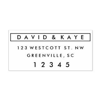 Modern couples self-inking return address stamp