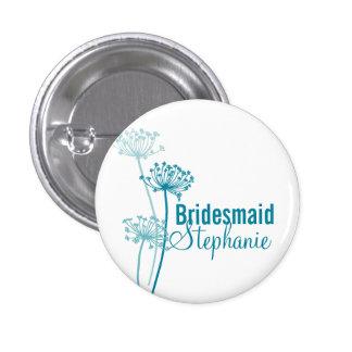 Modern cows parsley bridesmaid wedding pin button