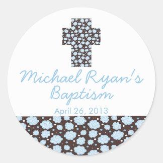 Modern Cross Blue Brown Floral Baptism Favor Seal