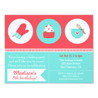 Modern Cupcake Cooking Baking Birthday Party 11 Cm X 14 Cm Invitation Card