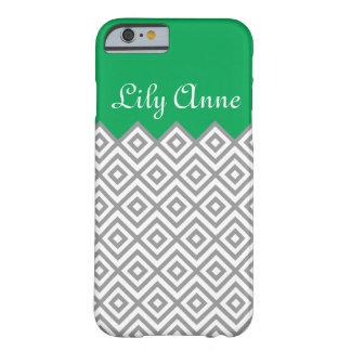 Modern Custom Gray & Kelly Green Chevron Monogram Barely There iPhone 6 Case