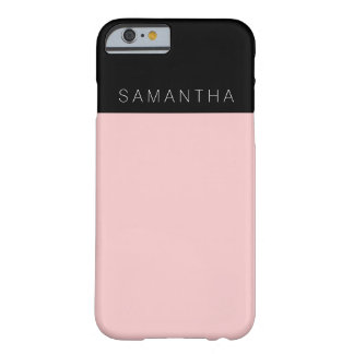 Modern custom rose pink color block monogram barely there iPhone 6 case