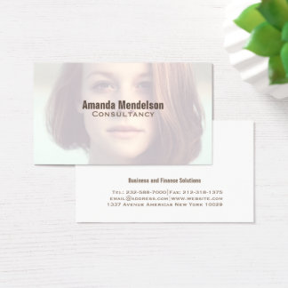 Modern customizable close up photo overlay business card
