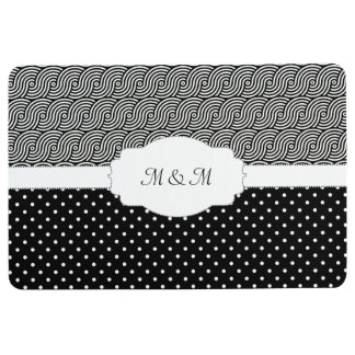 Modern Customizable Monogram Black and White Floor Mat