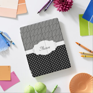 Modern Customizable Monogram Black and White iPad Cover