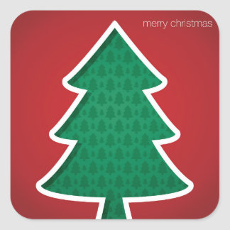 Modern cut out tree square sticker