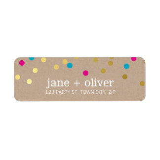 MODERN cute confetti spots gold pink aqua kraft Return Address Label