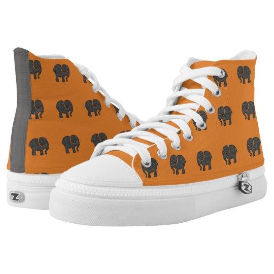 Modern cute  elephants orange printed shoes