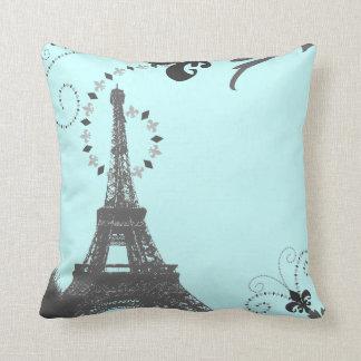 modern cute girly paris fashion blue eiffel tower throw pillow