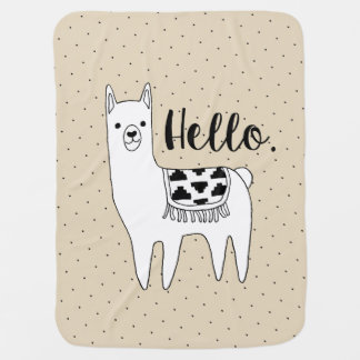 Modern Cute Llama Sketch Hello Baby Blanket