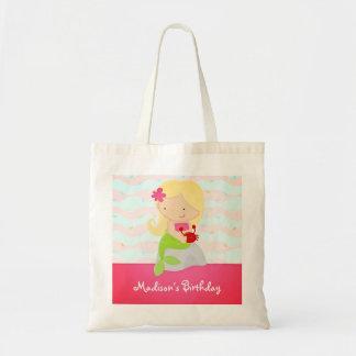 Modern Cute Mermaid Pink Birthday Party Budget Tote Bag