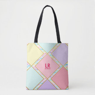 Modern Cute Pastel Geometric Gold Monogram Painted Tote Bag