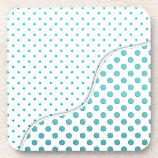 Modern Cute Turquoise and White Polka Dot Design Drink Coasters