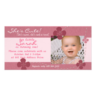 Modern Cutie Birthday Invitation with Flowers Customized Photo Card