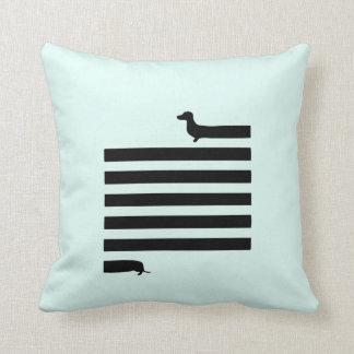 Modern dachshund silhouette square pillow