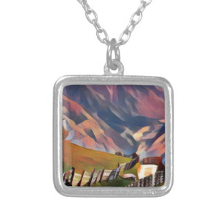 modern, dadaism,digital,painting,colorful,norway silver plated necklace