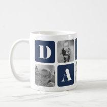 Modern Daddy Photo Collage Basic White Mug