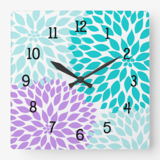 Modern Dahlia flowers turquoise lavender purple Square Wall Clock