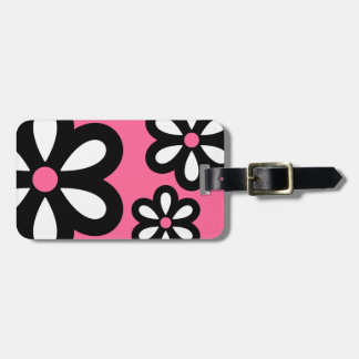 Modern Daisy Personalized Luggage Tag - Pink