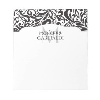 Modern Damask Black Personalized Notepad