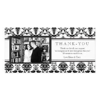 Modern Damask Black & White Thank You Photo Card