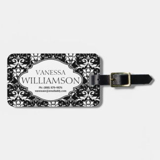 Modern Damask Floral Pattern Personalized Luggage Tag